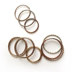Set of Ten Stackable Rings in Various Sizes